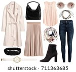 Stock photo a set of fashionable clothes and accessories on a white background 711363685