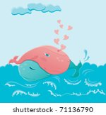 two whales in love hugging each ... | Shutterstock .eps vector #71136790