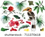 watercolor hand painted... | Shutterstock . vector #711370618