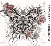Stock vector butterfly illustration in swirl hand drawn doodle style and flowers for design 711371212