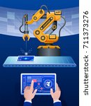 industry 4.0 concept .man hand... | Shutterstock .eps vector #711373276