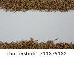 overhead of cereal bran sticks... | Shutterstock . vector #711379132