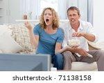 lovers watching tv in the... | Shutterstock . vector #71138158