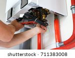new gas boiler | Shutterstock . vector #711383008