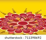 rangoli design  easy to edit ... | Shutterstock .eps vector #711398692