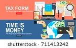 tax calculation  budget... | Shutterstock .eps vector #711413242