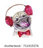 watercolor artistic pug dog...   Shutterstock . vector #711415276