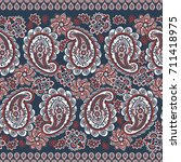 paisley seamless border pattern.... | Shutterstock . vector #711418975
