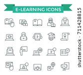 e learning icons  thin line ... | Shutterstock .eps vector #711428815
