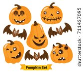 halloween pumpkin set | Shutterstock .eps vector #711437095
