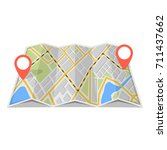 map with gps navigation and... | Shutterstock .eps vector #711437662