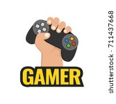 fist hand with gamer joy stick. ... | Shutterstock .eps vector #711437668