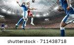 soccer players performs an...   Shutterstock . vector #711438718