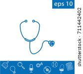 stethoscope icon  outline eps...   Shutterstock .eps vector #711442402
