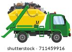 green waste skip truck | Shutterstock .eps vector #711459916