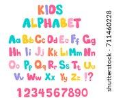 cartoon bubble alphabet in flat ... | Shutterstock .eps vector #711460228