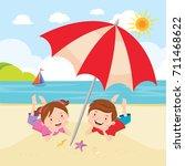 children fun in the sun | Shutterstock .eps vector #711468622