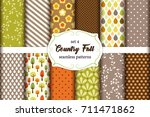 set of 12 cute seamless country ... | Shutterstock .eps vector #711471862