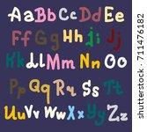hand drawn alphabet. brush... | Shutterstock . vector #711476182