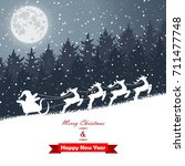 winter christmas forest with... | Shutterstock .eps vector #711477748