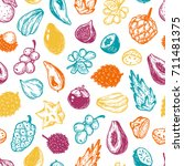 pattern with vector exotic... | Shutterstock .eps vector #711481375