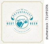 oktoberfest greeting card or... | Shutterstock .eps vector #711491056