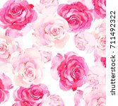 floral watercolor seamless... | Shutterstock . vector #711492322