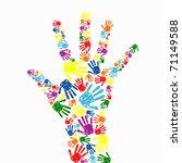 abstract vector hand prints...   Shutterstock .eps vector #71149588