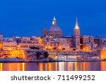 Valletta. Mediterranean Harbor...