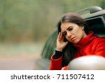 women with severe headache... | Shutterstock . vector #711507412