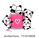 happy cute pandas eat fruit jam ... | Shutterstock .eps vector #711510838