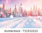 mysterious winter landscape... | Shutterstock . vector #711512212