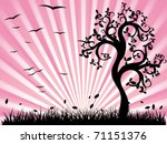 Pink Landscape With Silhouette...
