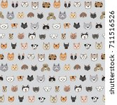 Stock vector cats and dogs animal doodle seamless pattern 711516526