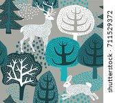 winter forest. seamless pattern.   Shutterstock .eps vector #711529372