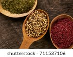 colorful spices in wooden... | Shutterstock . vector #711537106