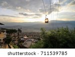 Medellin Colombia Cable Car Sunset