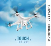 realistic quadcopter drone with ... | Shutterstock .eps vector #711542848