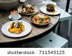 australian lunch style in the... | Shutterstock . vector #711545125