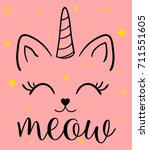 Stock vector unicorn cat illustration print design for kid clothes 711551605