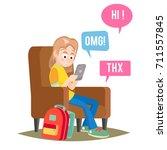 teen girl vector. teen girl... | Shutterstock .eps vector #711557845
