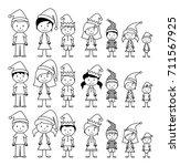 vector collection of line art... | Shutterstock .eps vector #711567925