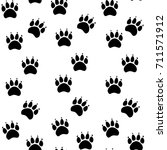 cat or dog paw seamless pattern ... | Shutterstock .eps vector #711571912