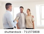 mortgage  people and real... | Shutterstock . vector #711573808