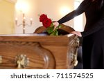 people and mourning concept  ... | Shutterstock . vector #711574525