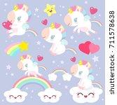 set of magical unicorns.... | Shutterstock .eps vector #711578638