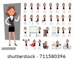 set of businesswoman character... | Shutterstock .eps vector #711580396