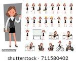 set of businesswoman character... | Shutterstock .eps vector #711580402