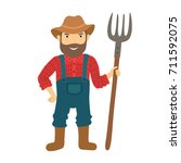 funny farmer character with a... | Shutterstock .eps vector #711592075