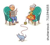 happy grandparents isolated on... | Shutterstock .eps vector #711594055